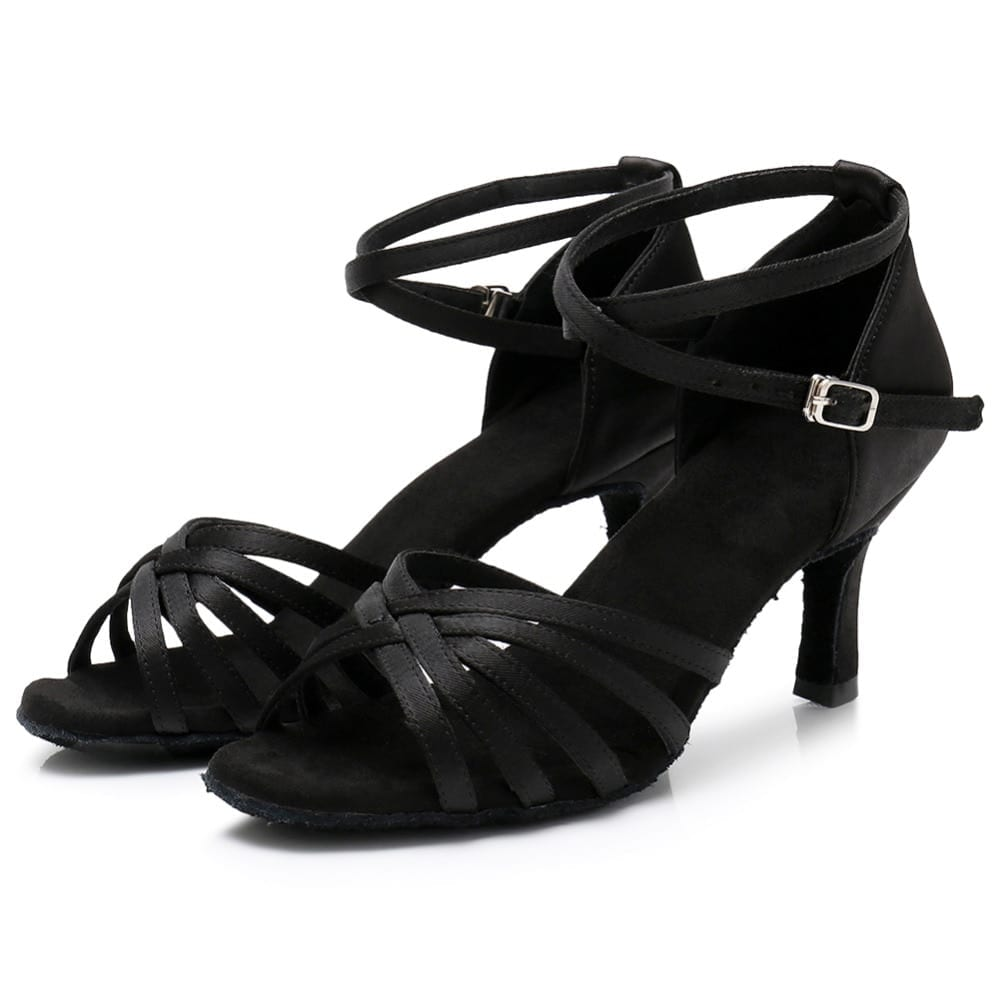 Ballroom New Professional Latin Dance Shoes for Women Girls Ladies  Tango Salsa High Heeled Indoor Dancing Satin PU White Red cbef1d9a2b33