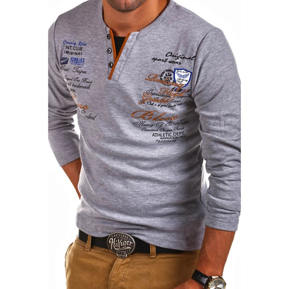 Zogaa Mens Fashion T Shirt Long Sleeve Personality Cultivating