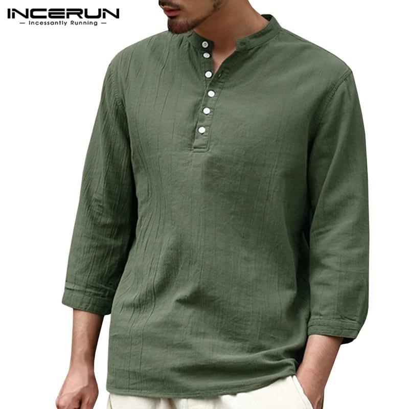 2e8be9fbcaf 2018 Fashion T-shirts Mens Long Sleeve Henley Shirts Plain Solid V-Neck 3/4  Sleeve Autumn T Shirts Male Tee Tops Camisas Hombre